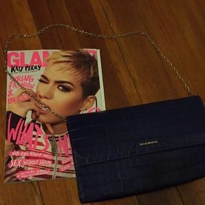 Armani Navy Leather embossed clutch